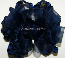 Navy Blue Organza Ruffle Hair Bow Solid Girls Baby Toddler Pageant Accessories