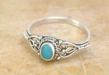 PRETTY STERLING SILVER REAL TURQUOISE RING size 10  style# r1079