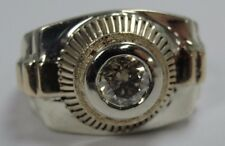 Men's 2 Tone 14K Gold Champagne Diamond Ring Size 10 .585 #RS312