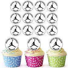 30 pre-tagliati BASKET Micheal Jordan commestibili decorazioni per cupcake qualsiasi nome e età