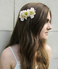 Ivory White Cream Wildflower Flower Hair Comb Vintage Bridesmaid Boho Slide Z97