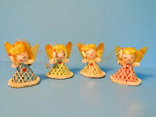 Vintage Chenille Christmas Ornaments set of Four Angels w Candles Colors 1960s