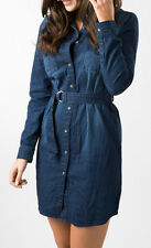AM LONDON KIRBY LONG SLEEVED DENIM SHIRT DRESS SIZE 14