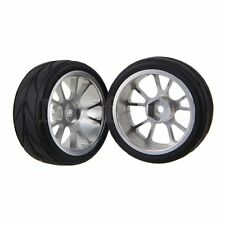 4x RC1:10 Silver Aluminum 10 Spoke Wheel Rims Black Rubber Tyres for On Road Car