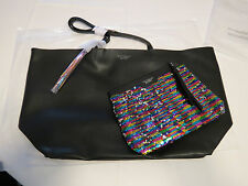 Victoria's Secret Limited Edition tote bag with Sequin make up pouch clutch NWT
