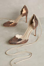 NWB Anthropologie Guilhermina Scalloped D'Orsay Heels - Silver - 38 EURO
