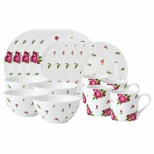 Royal Albert New Country Roses White Modern Casual Set, 16-Piece NEW IN THE BOX