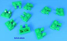 LEGO 1x2 Piastra verticale / orizzontale con clip verde / 10-pc