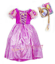 Disney Princess Rapunzel Children Girls Kids Gown Costume Halloween Dress 3-5 Yr