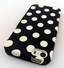 BLACK WHITE POLKA DOTS HARD GEL SKIN COVER CASE FOR APPLE IPHONE SE AND 5 5S
