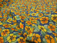 5 Metres Orange on Blue Poppy/Poppies Floral Printed Polycotton Fabric