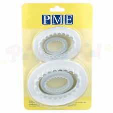 PME Set of 4 Sugarcraft Oval Plain & Fluted Plaque cutters / cake dec equipment