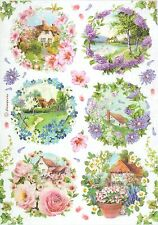 Rice Paper for Decoupage, Scrapbook Sheet, Craft Paper Small Spring Landscapes