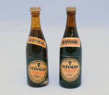 "TWO VINTAGE MINIATURE MINI GUINNESS EXTRA STOUT GLASS BEER BOTTLE 3 1/4"" TALL NR"