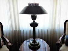 Vintage Metal Green Toleware Table Lamp with Shade and Glass Chimney