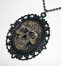 SUGAR SKULL goth SKELETON Painted CAMEO Pendant Necklace  DAY OF THE DEAD