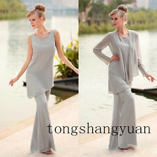 Grey Pants Suit Mother Of The Bride Dress +jacket Chiffon Formal Gowns Plus Size