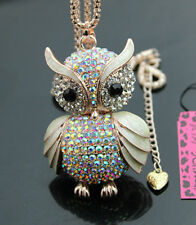 D556Y   Betsey Johnson Crystal AB Enamel Cute Owl Pendant Long Necklace