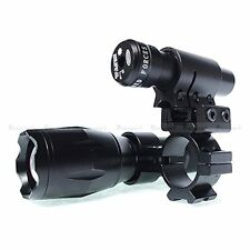 Adjustable Zoom CREE T6 LED Torch & Tactical Red Rifle Laser Dot Sight for Scope