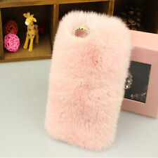 Bling Crystal Rhinestone Luxury Faux Rabbit Fur Phone Case For Iphone 5 5S 6 6+