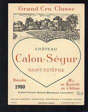 SAINT ESTEPHE 3EME GCC ETIQUETTE CHATEAU CALON SEGUR 1980   §22/03/17§