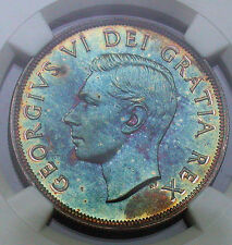1949 Canadian Silver Dollar-NGC MS62 Rainbow Toned - MIRRORED Obverse - Wow!