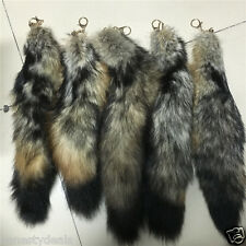 "18"" 45cm Natural South America Fox Tail Fur Keychain Tassel Leather Bag charm"