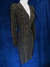NWOT 40's Retro Vintage Dark Leopard Cat V Sexy Pin Up Formal Dress Motel Rocks