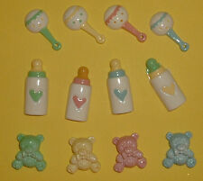 12 Resin Baby Set (4 of each) Card Topper Embellishments