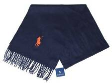 NWT Polo RALPH LAUREN Mens Scarf Blue 100% Lambswool Orange BIG PONY Embroidery