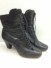 VGC Clarks Women's Brown Khaki Leather High Heel Lace Up Ankle Boots Shoes 39 6