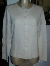 NWT WENDY B CASHMERE Ivory Soft Lace Crew Neck Cardigan Sweater - sz L