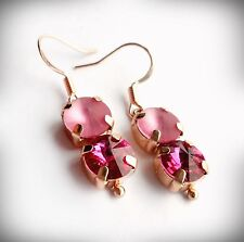 Rose Gold Plated Earrings with Swarovski Pink Fuchsia and Matt Rose Crystals