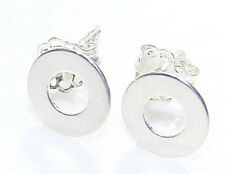 Stunning Modern Designed 0.8mm Open Circle Sterling Silver Studs. Stamped 925.