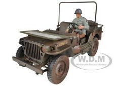 1/4 TON US ARMY JEEP VEHICLE WW 2 DIRTY VERSION WITH FIGURE 1/18 BY WELLY 18036A