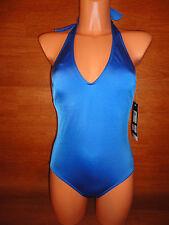 $130 Womens IT FIGURES Swimsuit Swim Suit Size 10 Blue Solid Halter One Piece