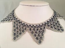 UNUSUAL HANDMADE CROCHET COLLAR NECKLACE SILVER THREAD HEMATITE BLACK SEED BEADS