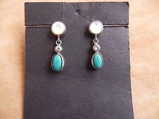 MOP, CZ, Turquoise & Sterling Silver Earrings .925 Thailand or India
