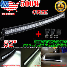 "CREE 52""/54"" 500W Curved Led Light Bar Combo For Dodge Ram Ford F-250/F-350 4X4"
