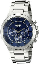 Seiko Men's Recraft Solar Chronograph 100m Stainless Steel Watch SSC281
