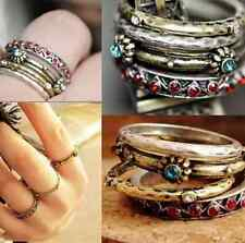 Vintage Retro Punk Crystal Rhinestone Finger Rings Women Jewelry 4pcs/set