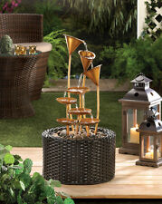 NEW COUNTRY GOLDEN WATER LILY OUTDOOR YARD GARDEN PATIO WATER FOUNTAIN DECOR