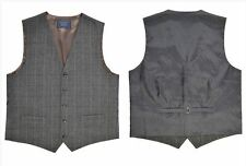 Men's New Brown TWEED Check Waistcoat Vest With Contrast Back (see size chart)