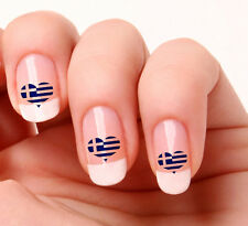 20 Nail Art Decals Transfers Stickers #274 - Greece Flag Heart