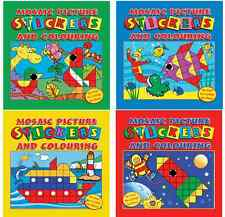 SET OF 4 MOSAIC STICKER & COLOURING BOOKS KIDS ART & CRAFT ACTIVITY SERIES 3105