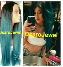 Full human teal long  beauty straight ombre hair.  Lace front wig.