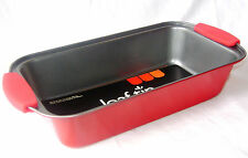 NEW RED NON STICK LOAF PAN TIN WITH SILICONE HANDLES 23x13cm UBL