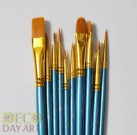 10 Paint Brush Value Set. For Artists Watercolour Acrylic & Oil Painting