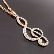 Fashion gold plated musical note crystal notes pendant Long Necklace  XL115