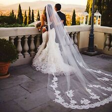 Bridal Regal Cathedral Viel 3m Length Embroidered Lace Edge Wedding Veil w/Comb